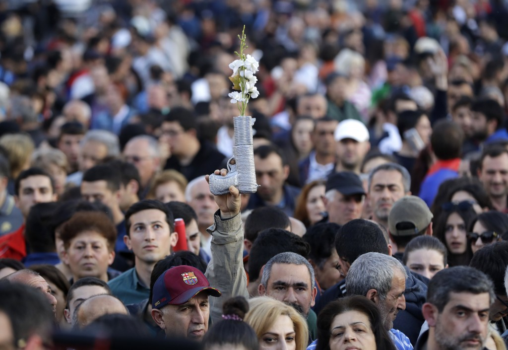 Supporters of Armenian protest leader Nikol Pashinian during a rally in Yerevan on Monday, April 30, 2018. Armenia's parliament plans to choose a repl...