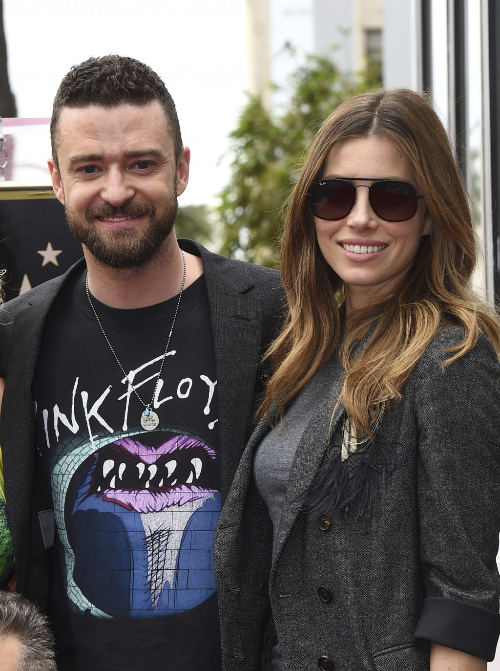 Justin Timberlake, left, and Jessica Biel attend a ceremony honoring NSYNC with a star on the Hollywood Walk of Fame on Monday, April 30, 2018, in Los...