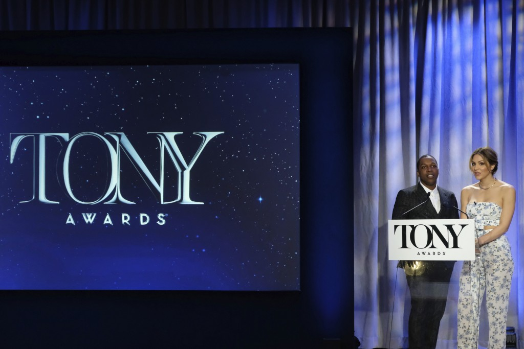 Leslie Odom Jr. and Katharine McPhee attend the 2018 Tony Awards nominations announcement at the New York Public Library for the Performing Arts on Tu...