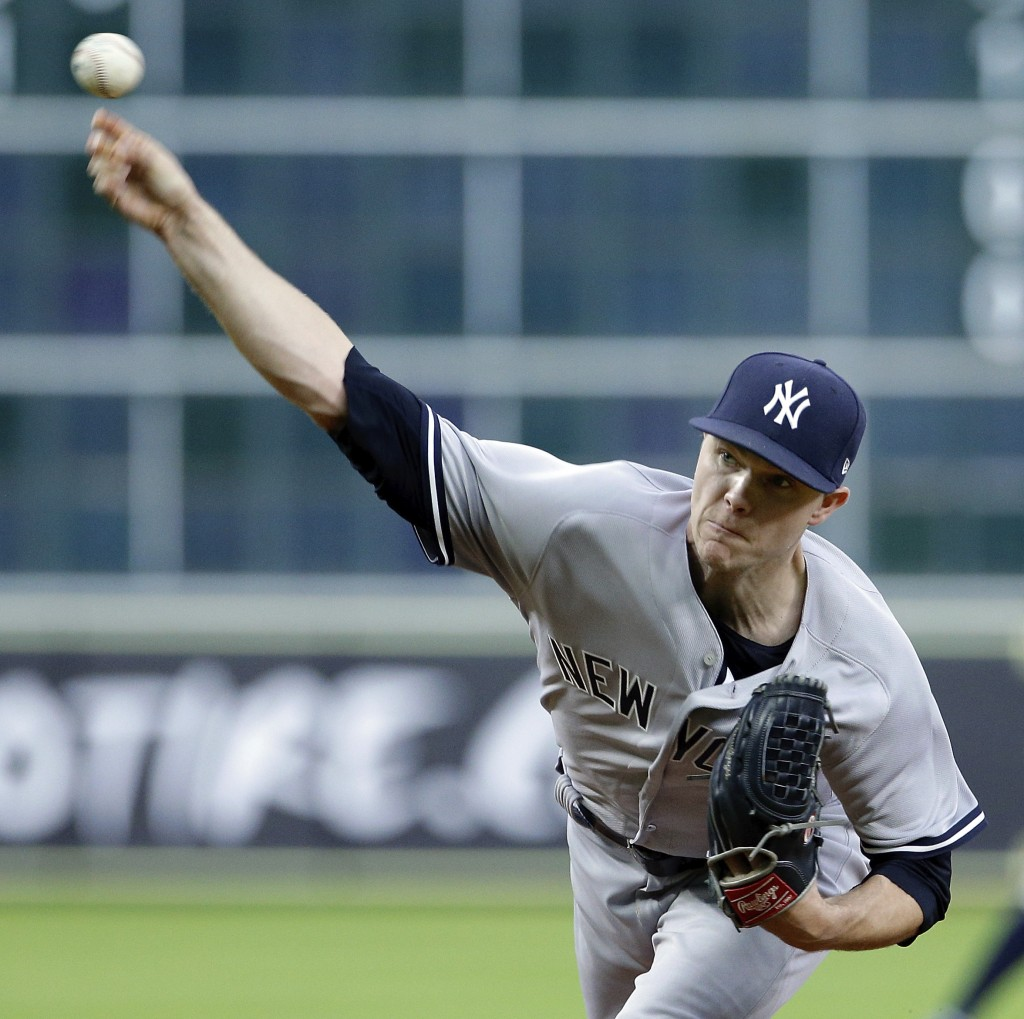 New York Yankees starting pitcher Sonny Gray throws against the Houston Astros during the first inning of a baseball game Monday, April 30, 2018, in H...