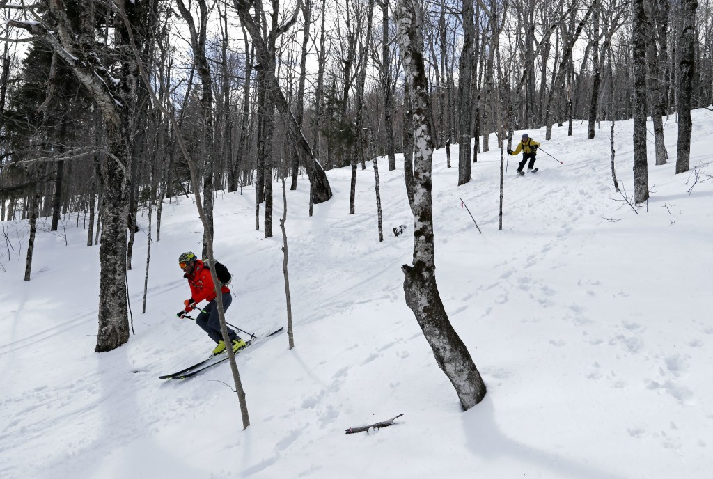 In this Saturday, April 21, 2018, photo, Andrew Drummond, below, and Drew Zimber ski through the glades on Crescent Ridge in the Randolph Community Fo...