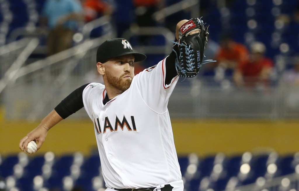 Miami Marlins' Dan Straily delivers a pitch during the first inning of a baseball game against the Philadelphia Phillies, Monday, April 30, 2018, in M...