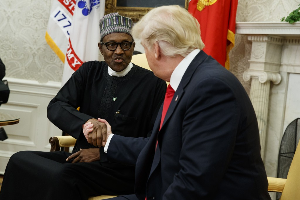 President Donald Trump meets with Nigerian President Muhammadu Buhari in the Oval Office of the White House, Monday, April 30, 2018, in Washington. (A...