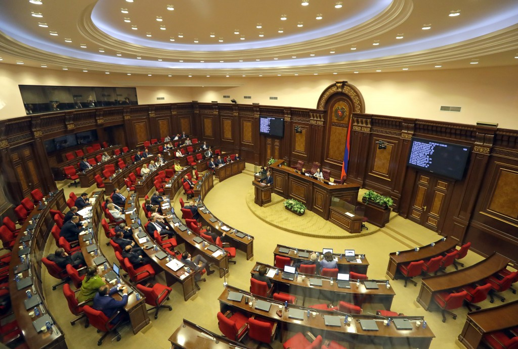 Opposition lawmaker Nikol Pashinian speaks during a parliament session to choose a replacement of Prime Minister in Yerevan on Tuesday, May 1, 2018. N...