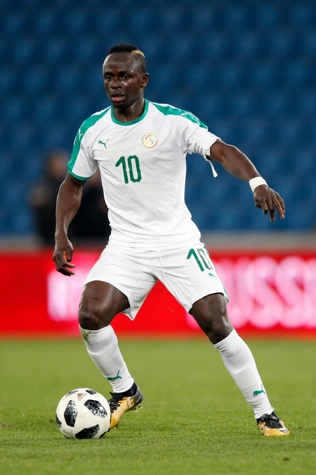 In this photo taken on Tuesday, March 27, 2018, Senegal's Sadio Mane controls the ball during a friendly soccer match between Senegal and Bosnia and H...