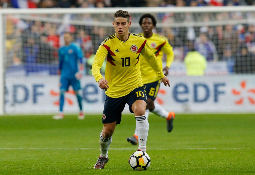 In this photo taken on Friday, March 23, 2018, Colombia's James Rodriguez controls the ball during a friendly soccer match between France and Colombia...