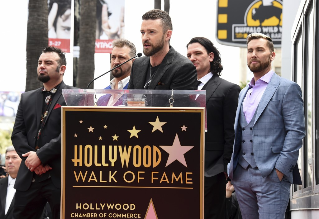 Justin Timberlake speaks at a ceremony honoring NSYNC with a star on the Hollywood Walk of Fame on Monday, April 30, 2018, in Los Angeles. Joining Tim...