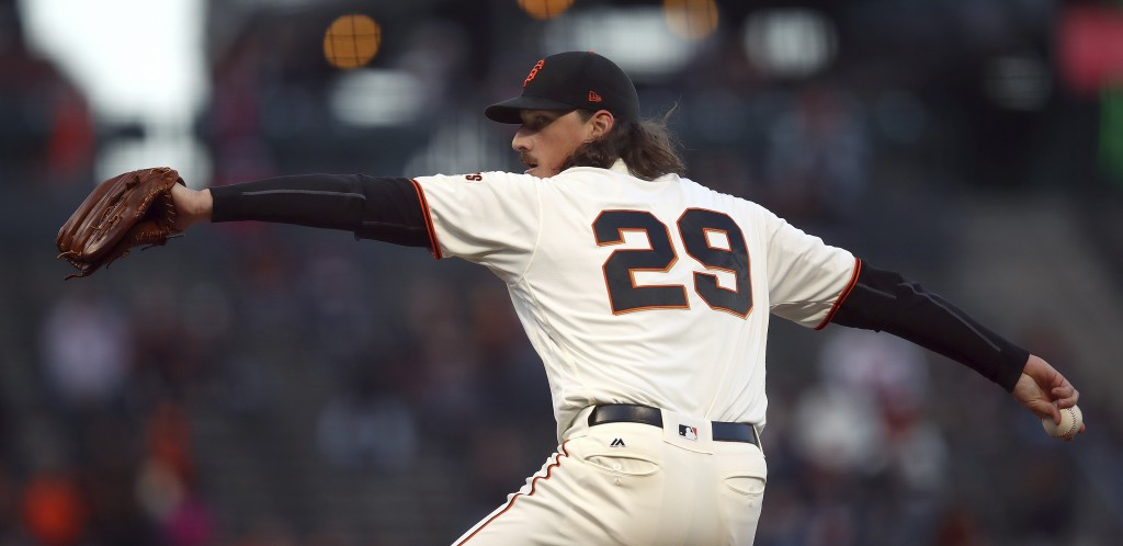 San Francisco Giants pitcher Jeff Samardzija works against the San Diego Padres in the first inning of a baseball game Monday, April 30, 2018, in San ...