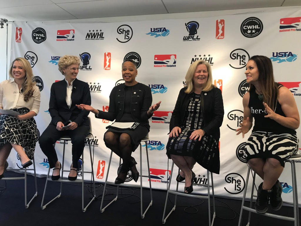 In this April 18, 2018, photo, from left, Caiti Donovan, executive director of SheIS; Brenda Andress, commissioner of Canadian Women's Hockey League; ...