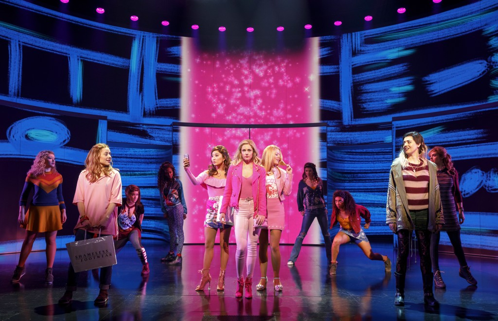 """This image released by Boneau/Bryan-Brown shows a performance of """"Mean Girls,"""" in New York.  The Tony Awards race is dominated by big established bran..."""