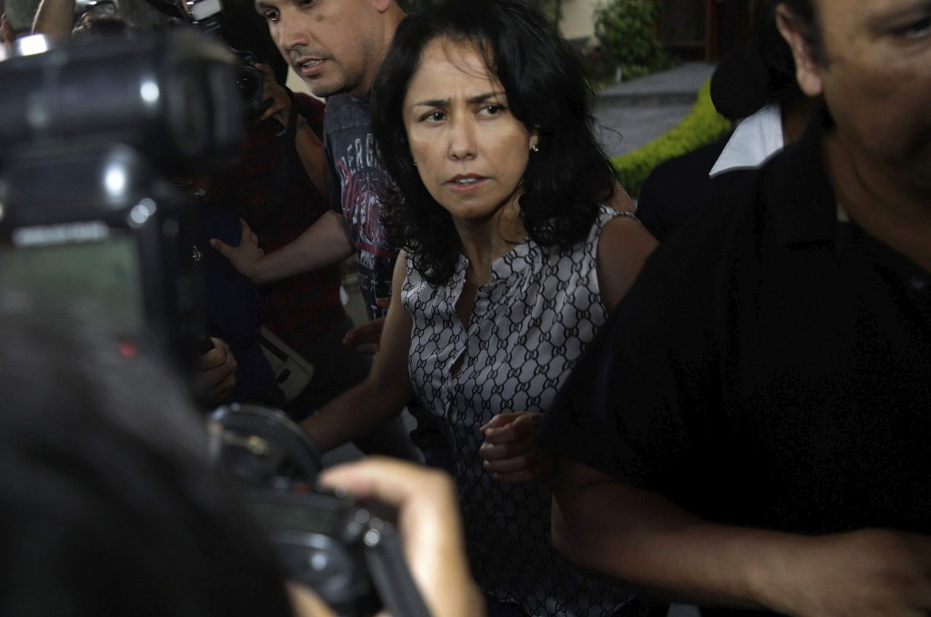 Peru's former First Lady Nadine Heredia arrives home after she was released from prison in Lima, Peru, Monday, April 30, 2018. A high court in Peru ha...