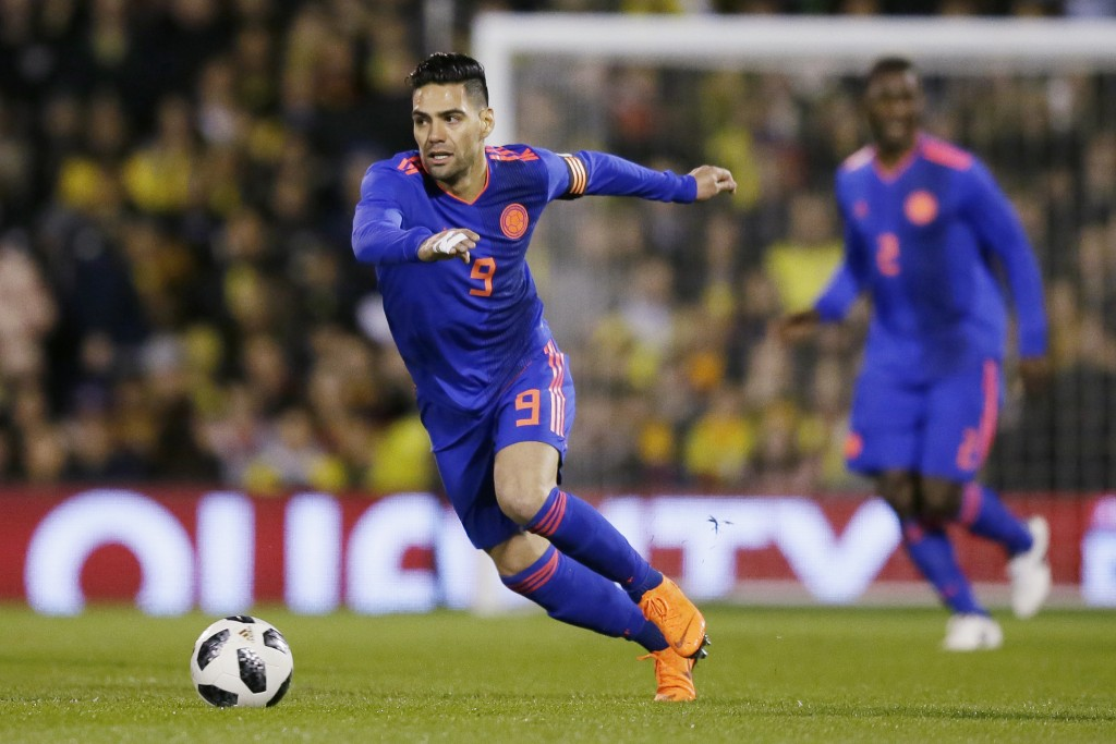In this photo taken on Tuesday, March 27, 2018, Colombia's Radamel Falcao during a friendly soccer match between Colombia and Australia in London. (AP...