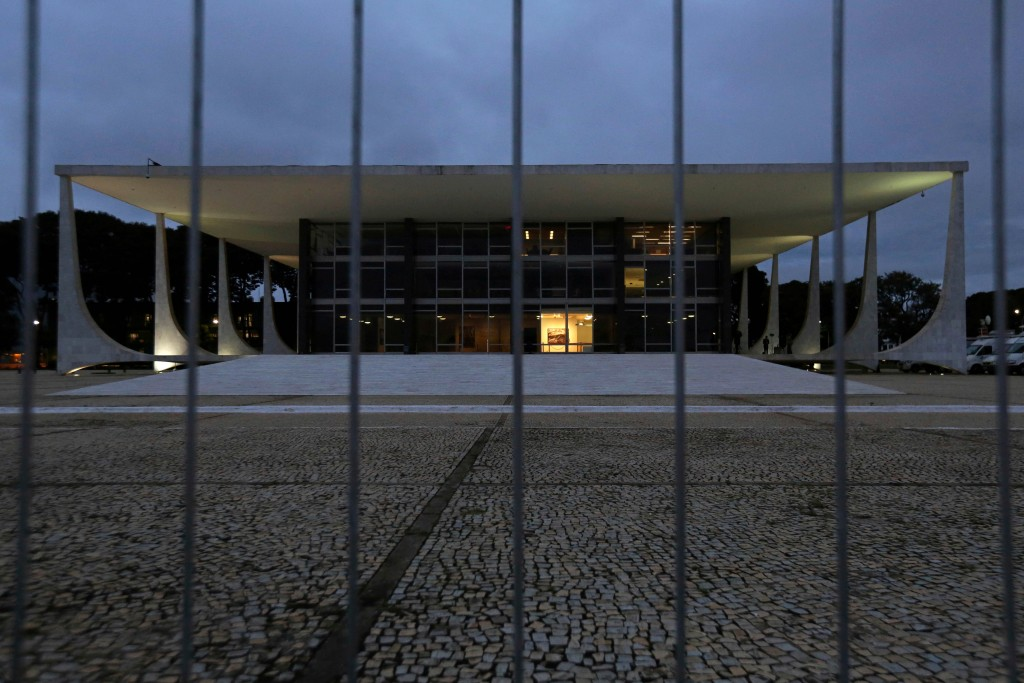 In this April 4, 2018 file photo, the building of the Brazilian Supreme Court is surrounded by guardrails at dawn, the day the court will decide on we...