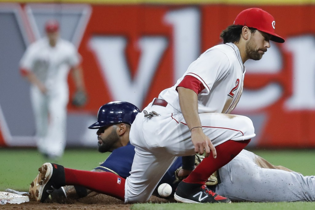 Milwaukee Brewers' Jonathan Villar, left, steals second against Cincinnati Reds shortstop Alex Blandino (2) in the sixth inning of a baseball game, Mo...