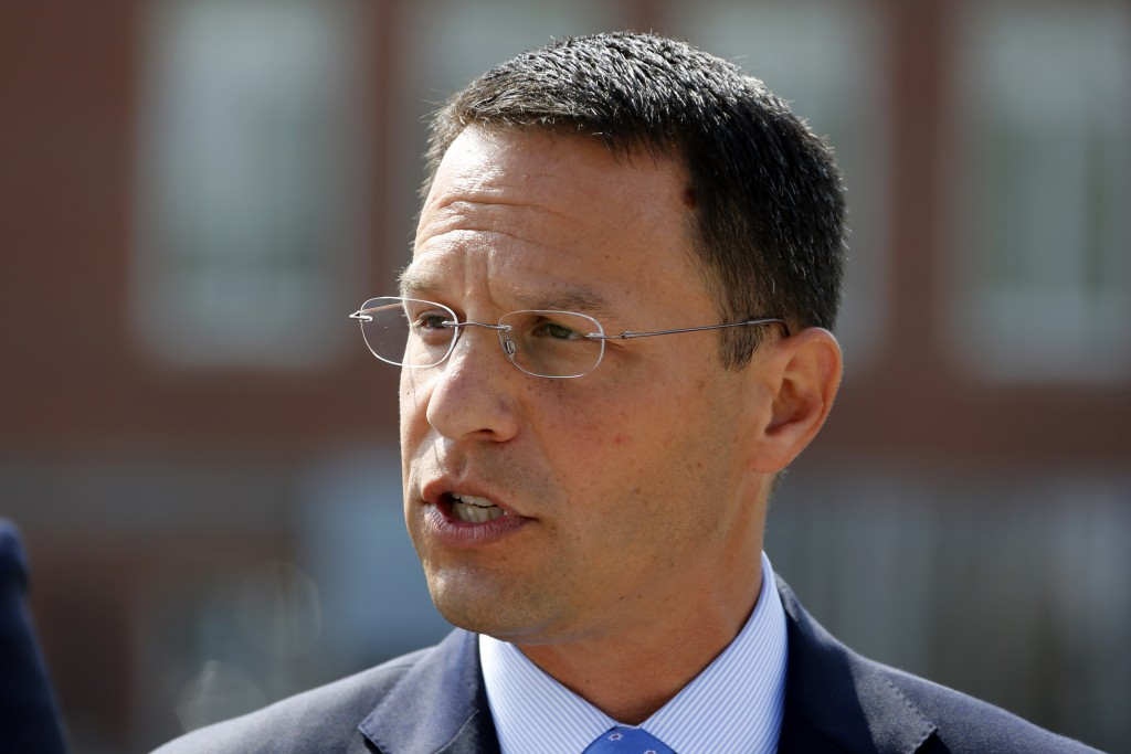 FILE – In this July 24, 2017, file photo, Pennsylvania Attorney General Josh Shapiro speaks during a news conference in Lower Burrell, Pa. Shapiro ann...