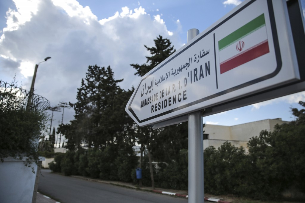 A street sign is posted at the entrance of the embassy of Iran in Rabat, Morocco, Tuesday, May 1, 2018. Morocco will sever diplomatic ties with Iran o...
