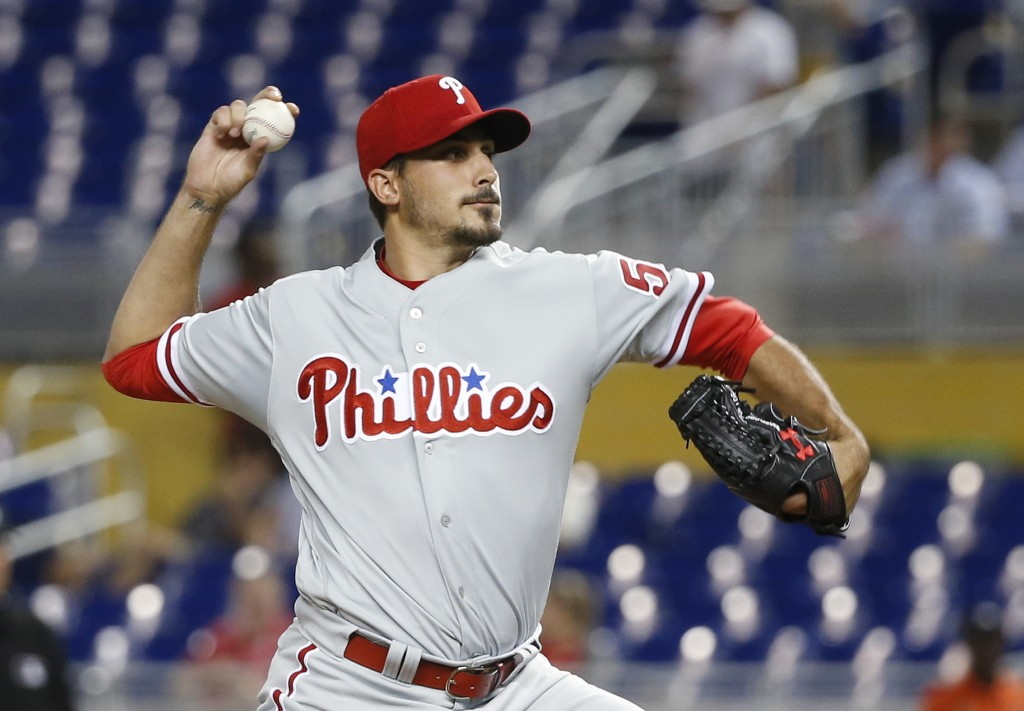 Philadelphia Phillies' Zach Eflin delivers a pitch during the first inning of the team's baseball game against the Miami Marlins, Tuesday, May 1, 2018...