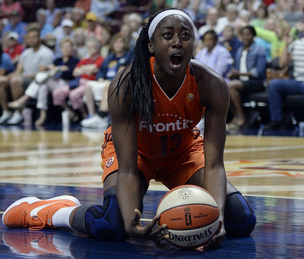 FILE - In this July 7, 2016, file photo, Connecticut Sun's Chiney Ogwumike reacts during overtime of a WNBA basketball game against the Minnesota Lynx...