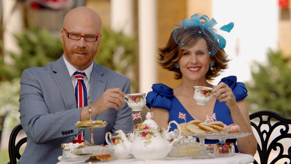 This image released by HBO shows Will Ferrell as Cord Hosenbeck, left, and Molly Shannon as Tish Cattigan who will host the Royal Wedding in the HBO s...