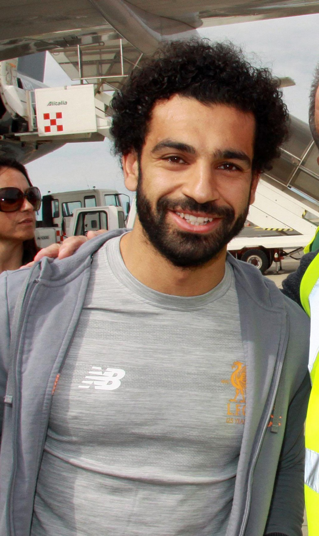 Liverpool's Mohamed Salah arrives at Fiumicino airport in Rome, Tuesday, May 1, 2018. Liverpool faces AS Roma in a Champions League soccer semifinal r...