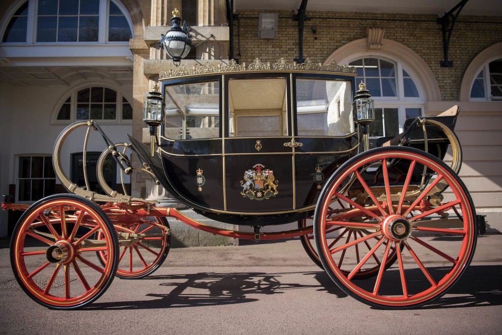 The Scottish State Coach, which will be used in the case of wet weather, for the wedding of Britain's Prince Harry and Meghan Markle, while it is prep...