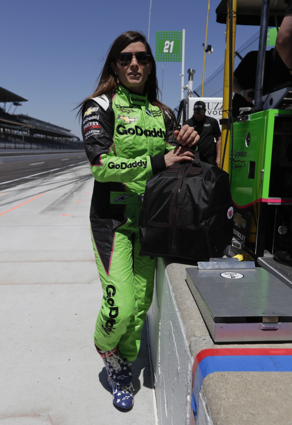 IndyCar driver Danica Patrick waits to drive at Indianapolis Motor Speedway in Indianapolis, Tuesday, May 1, 2018. (AP Photo/Michael Conroy)