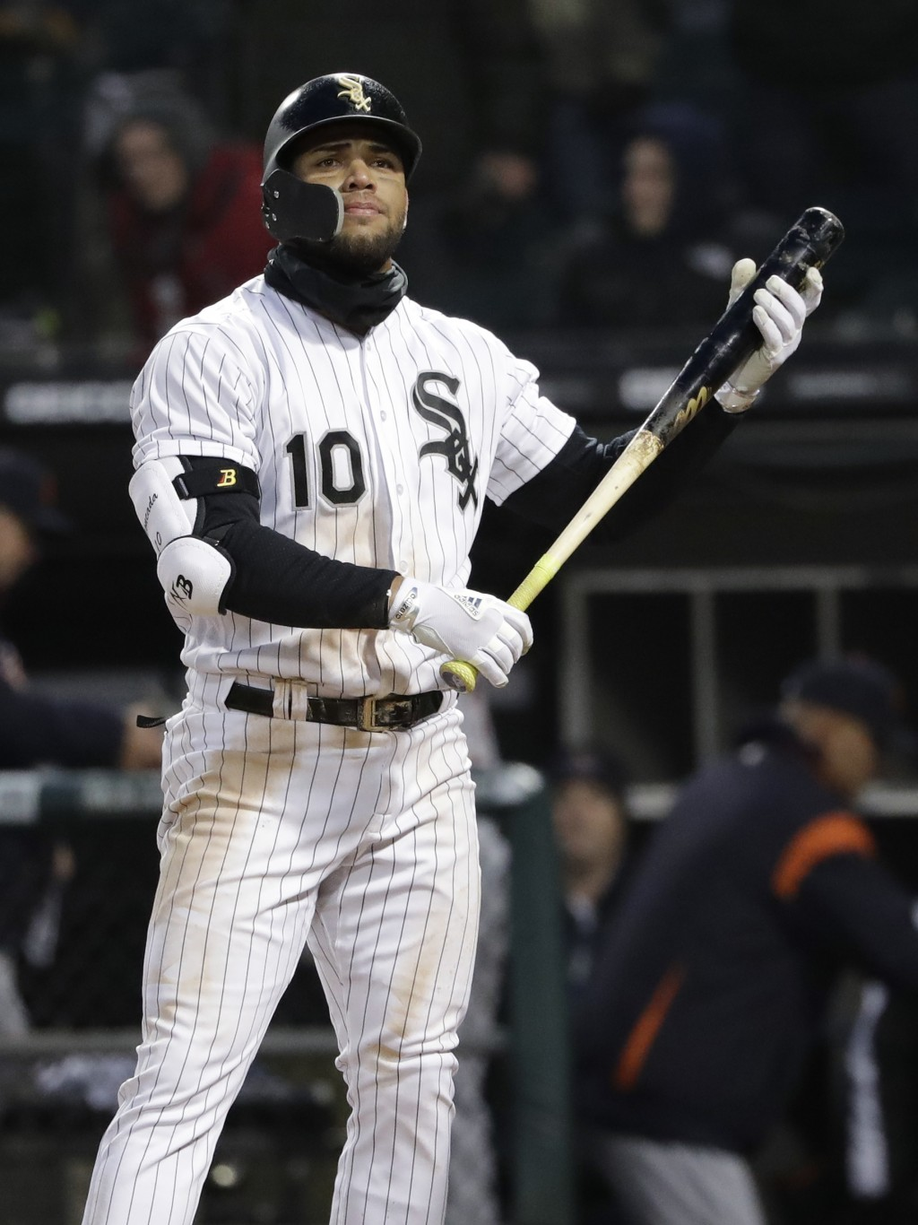 FILE - In this April 5, 2018, file photo, Chicago White Sox's Yoan Moncada reacts after striking out swinging against the Detroit Tigers during the 10...