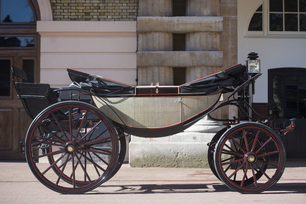 The Ascot Landau open carriage, which will be used in the case of dry weather, for the wedding of Britain's Prince Harry and Meghan Markle, stands rea...