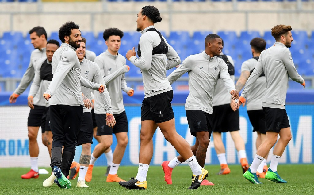 Liverpool players, including Mohamed Salah, left, attend a team training session at the Olympic Stadium, in Rome, May 1, 2018. Liverpool will face AS ...
