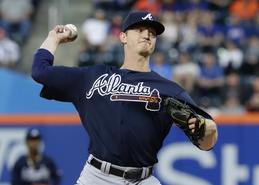 Atlanta Braves' Michael Soroka delivers a pitch during the first inning of a baseball game against the New York Mets Tuesday, May 1, 2018, in New York...