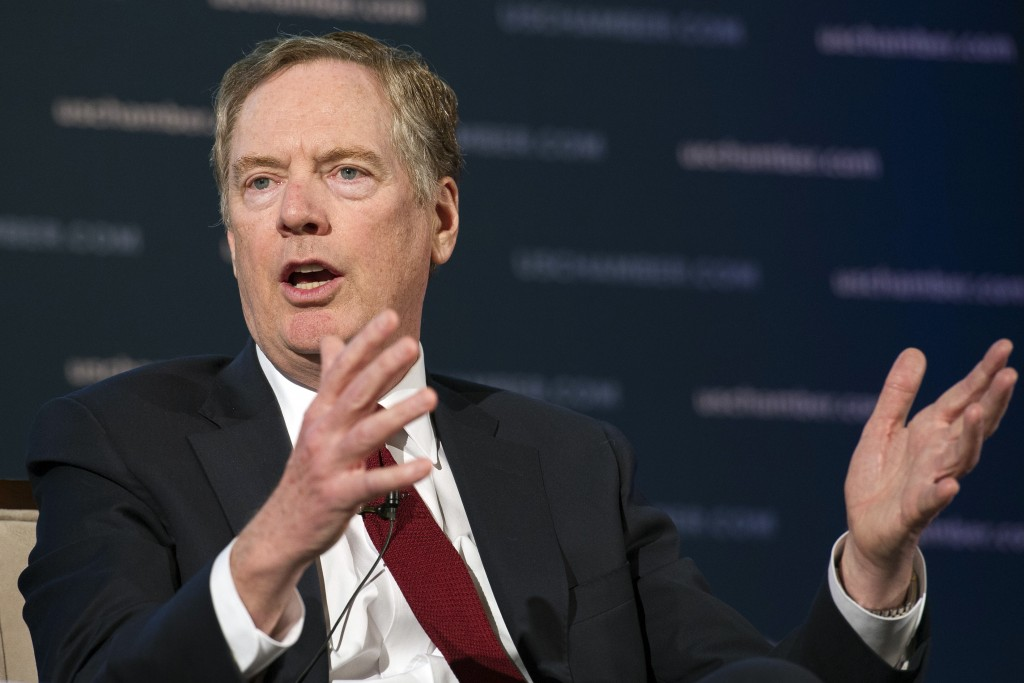 U.S. Trade Representative Robert Lighthizer speaks at the 9th China Business Conference at the U.S. Chamber of Commerce in Washington, Tuesday, May 1,...