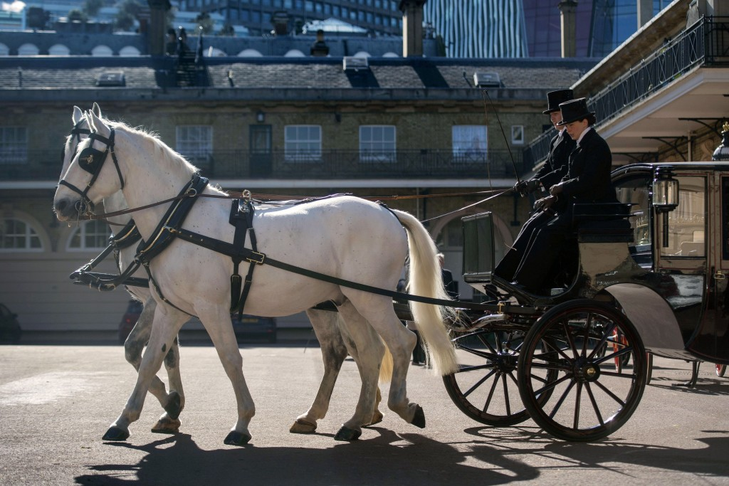 Two Windsor Greys, which will pull the carriage at the wedding of Britain's Prince Harry and Meghan Markle, during preparations in the Royal Mews at B...