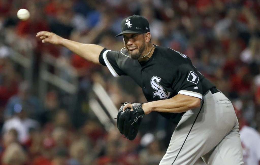 Chicago White Sox starting pitcher James Shields throws during the sixth inning of a baseball game against the St. Louis Cardinals Tuesday, May 1, 201...
