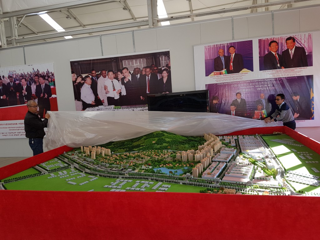 In this Jan. 5, 2015 photo, Huajian officials show off a new industrial zone that is being built on the outskirts of the Ethiopian capital, Addis Abab...