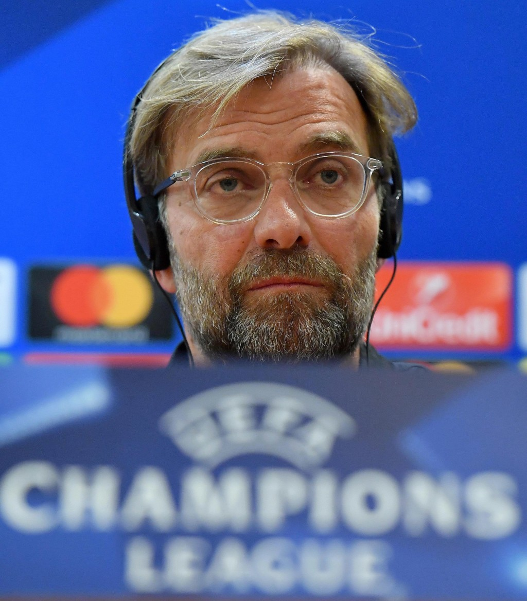 Liverpool manager Juergen Klopp attends a press conference at the Olympic Stadium, in Rome, May 1, 2018. Liverpool will face AS Roma in the second leg...