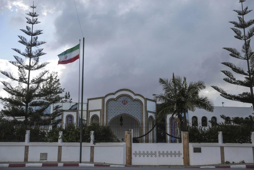 A view of the embassy of Iran in Rabat, Morocco, Tuesday, May 1, 2018. Morocco will sever diplomatic ties with Iran over Tehran's support for the Poli...