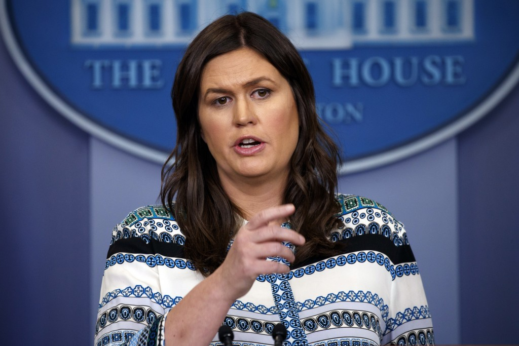 White House press secretary Sarah Huckabee Sanders speaks during the daily press briefing at the White House, Tuesday, May 1, 2018, in Washington. (AP...