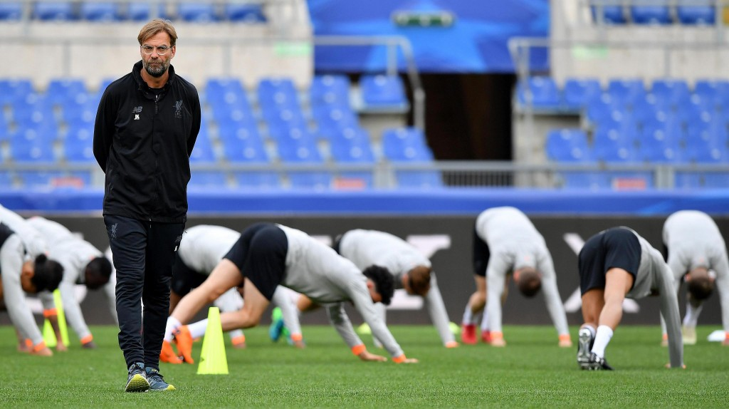 Liverpool manager Juergen Klopp attends a team training session at the Olympic Stadium, in Rome, May 1, 2018. Liverpool will face AS Roma in the secon...