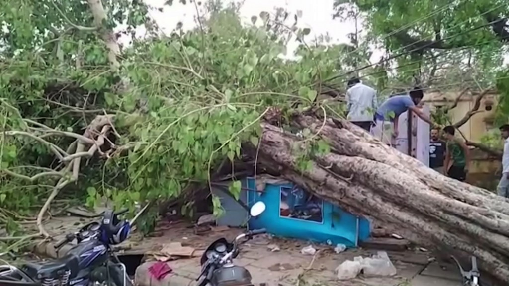 This frame grab from video provided by XYZ News shows damage caused by a rainstorm in the western Indian state of Rajasthan, Thursday, May 3, 2018. A ...