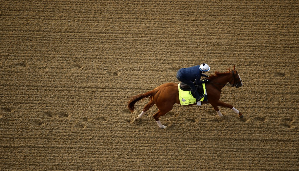 Kentucky Derby entrant Good Magic runs during a morning workout at Churchill Downs Wednesday, May 2, 2018, in Louisville, Ky. (AP Photo/Charlie Riedel