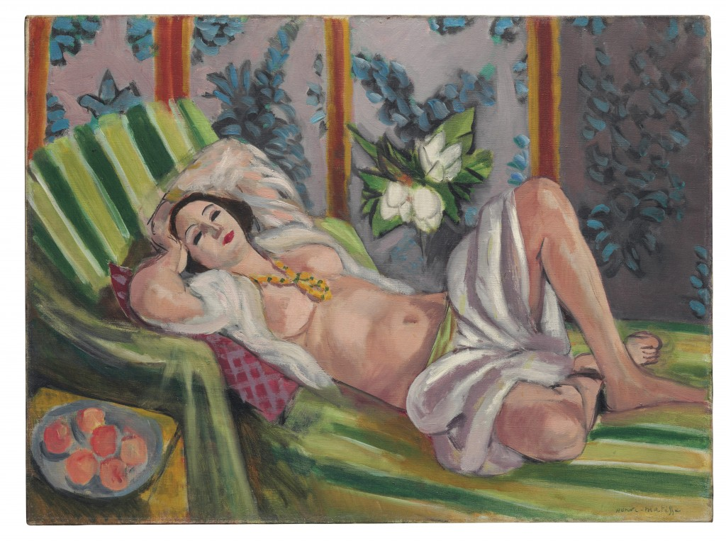 """This photo provided by Christie's Images Ltd. 2018 shows Henri Matisse's """"Odalisque couchée aux magnolias,"""" part of the collection of oil-family scion..."""