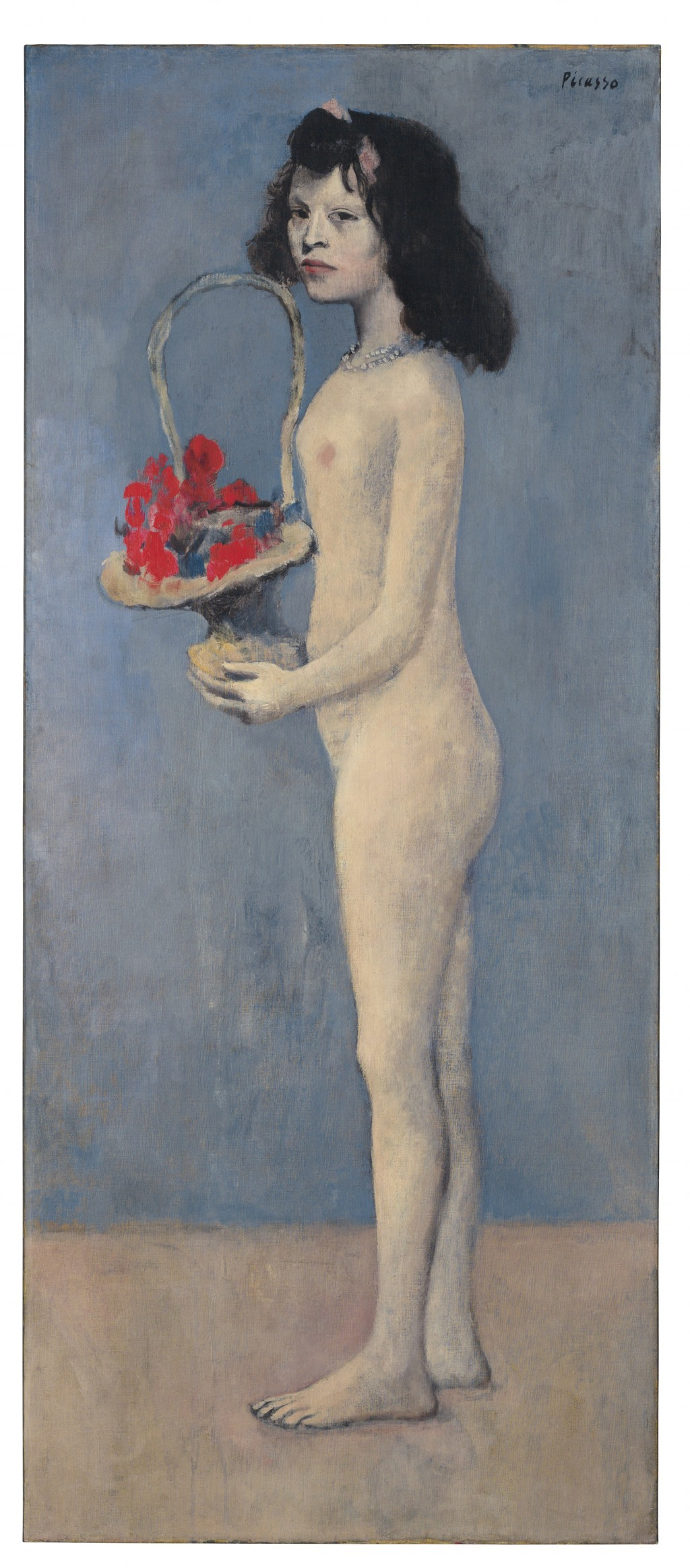 """This photo provided by Christie's Images Ltd. 2018 shows Pablo Picasso's 1905 painting """"Fillette a la corbeille fleurie, (Young Girl with a Flower Bas..."""