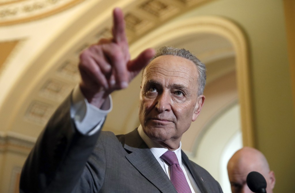 Senate Minority Leader Chuck Schumer of N.Y., points to a question during a media availability after a policy luncheon on Capitol Hill, Tuesday, May 8...