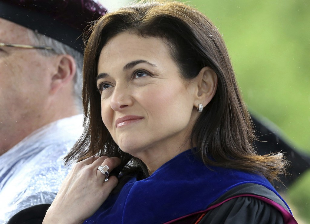 FILE - In this May 12, 2017, file photo, Facebook COO Sheryl Sandberg, who delivered the 2017 Virginia Tech commencement address, listens during the c...