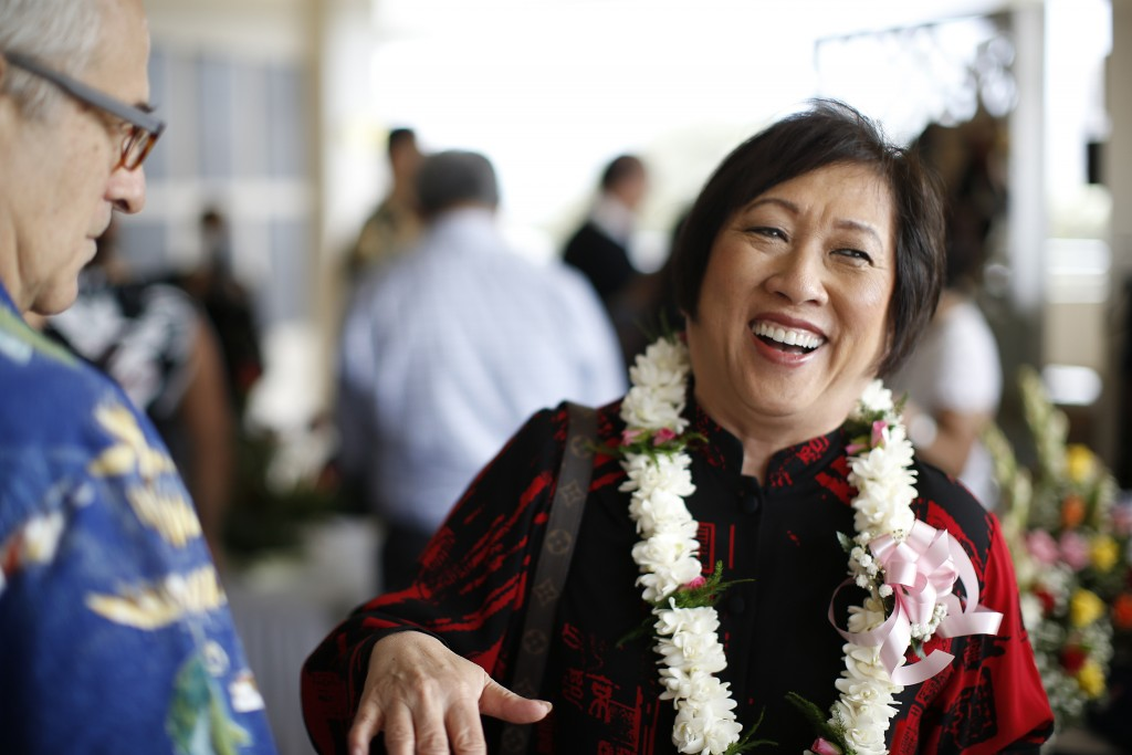In this Saturday, April 28, 2018, photo, U.S. Rep. Colleen Hanabusa, D-Hawaii, talks with a guest at an event held at the Japanese Cultural Center of ...