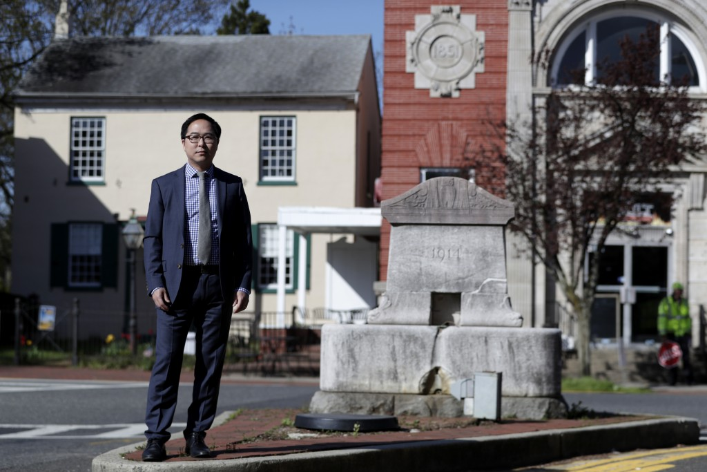 In this Tuesday, May 1, 2018, photo, Andy Kim poses for a portrait in Bordentown, N.J. Kim, a Democrat who grew up in Marlton, N.J., is running for Co...