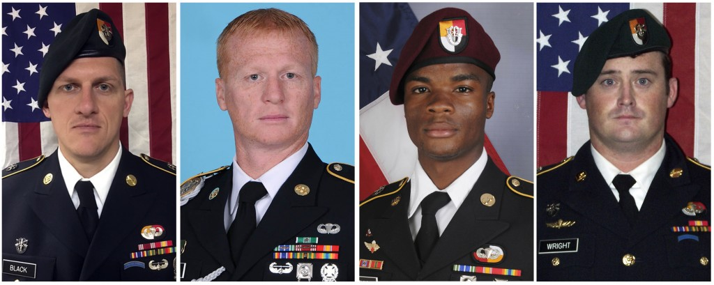 These images provided by the U.S. Army show, from left, Staff Sgt. Bryan C. Black, 35, of Puyallup, Wash.; Staff Sgt. Jeremiah W. Johnson, 39, of Spri