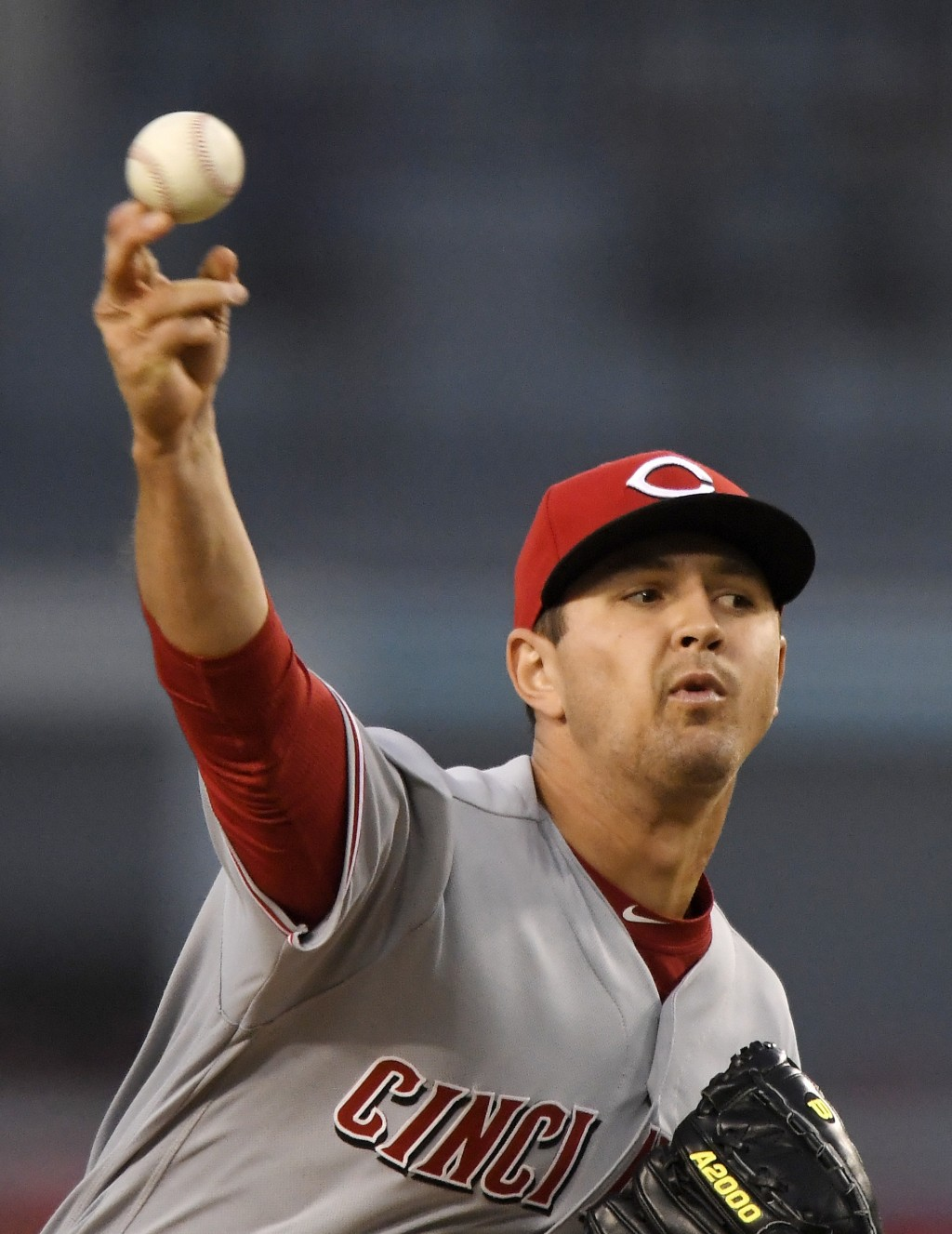 Cincinnati Reds starting pitcher Tyler Mahle throws to a Los Angeles Dodgers batter during the first inning of a baseball game Thursday, May 10, 2018,...