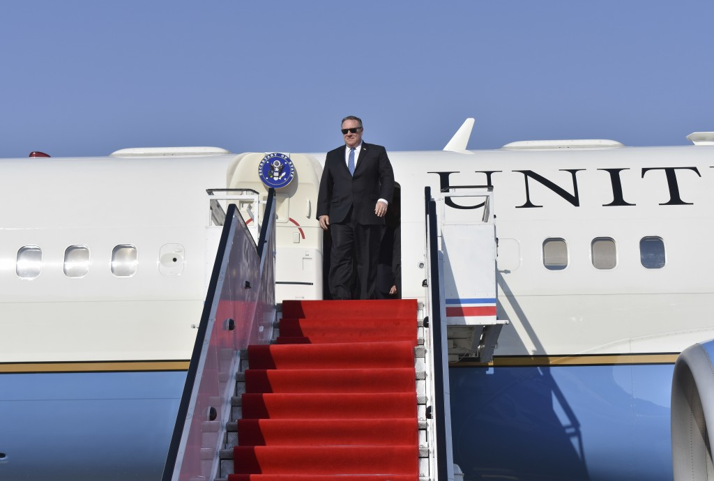 Secretary of State Mike Pompeo arrives at Pyonyang, North Korea airport on Wednesday, May 9, 2018. It began with quiet words from State Department off...