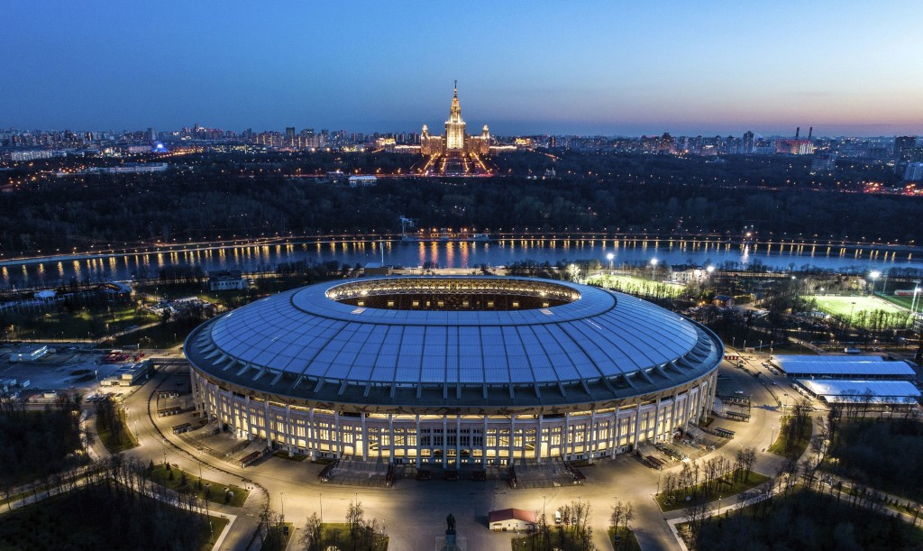 This photo taken on Monday, April 23, 2018, shows an aerial view of the World Cup Luzhniki stadium with the Moscow River and the State University in t...